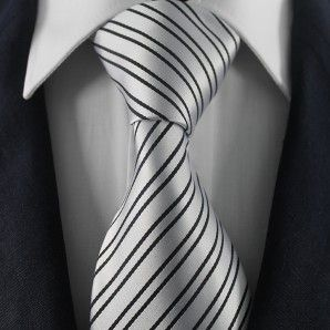 Silver & Black Striped Neckties / Formal Business Neckties.