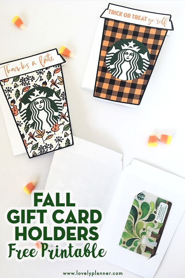 Fall Thanks A Latte Starbucks Gift Card Holder Free Printable Lovely Planner Starbucks Gift Card Holder Gift Card Holder Printable Gift Cards