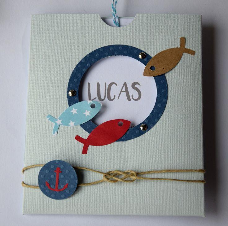 Faire part de naissance, baptême - pochette bleue thème marin (poisson, ancre, noeud marin) : Faire-part par tresors-d-enfance