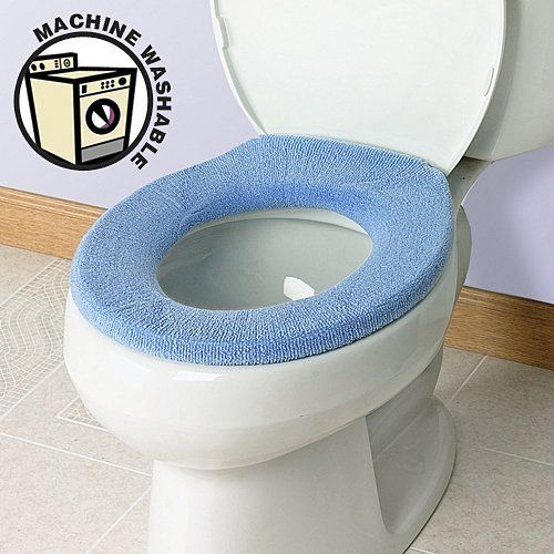 Soft 'n' Comfy Toilet Seat Cover - Sky Blue by Soft N Comfy. $8.98. Quick and Easy Application. Thick and Durable. Removable. Machine Washable. Comfortable. Ever sat on a cold, hard toilet seat? Who hasn't, right?!   SoftNComfyTM Toilet Seat Covers eliminate that unpleasant sensation.  Made of a soft acrylic-polyester blend that feels like terrycloth, these covers are machine washable and simple to install and remove.   An elastic band and plastic ribbing keeps the co...