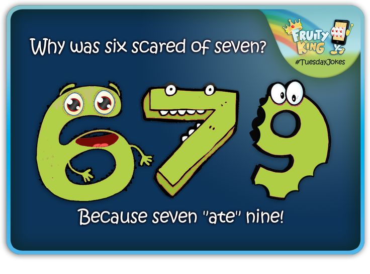 "#Tuesday #Jokes  Why was six scared of seven?  Because seven ""ate"" nice!"