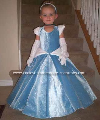 Homemade Cinderella Costume: I've been working on my daughter's dress since March!  I wanted to get it just right.  I looked everywhere for just the right fabric and finally found