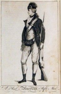 """American rifleman c  1780  """"Georgia Parole"""" (American militia term) – To shoot an enemy soldier rather than take him prisoner. In the South much of the fighting took place between rival Patriot and Loyalist militias. Sometimes this conflict became very bitter and personal, with little attempt being made to take enemy prisoners."""
