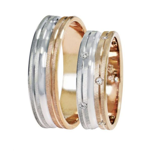 Βέρες γάμου Stergiadis δίχρωμο  ροζ  χρυσό Κ14 SAT-14-rw558