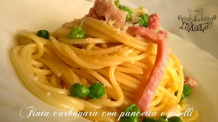 Finta carbonara con pancetta e piselli #carbonara #pancetta #pastaallacarbonara