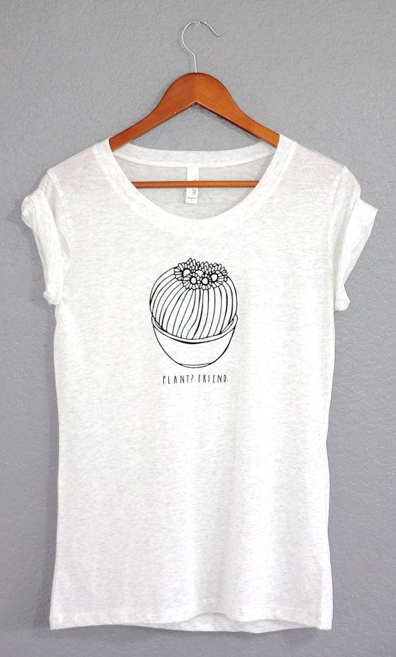 Camiseta de planta de la mujer de blanco / / Cactus por ATEAPPAREL