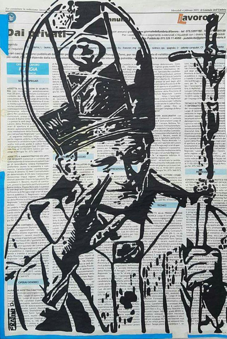 Beato Giovanni Paolo II Acrilico su tela con Giornale 40cmx30cm byDaniele Fratini