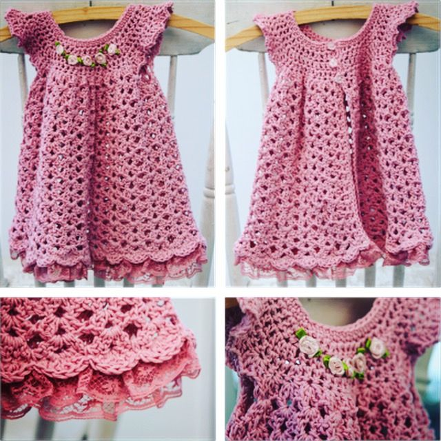 Pink crochet dress for baby girl available from online shop.