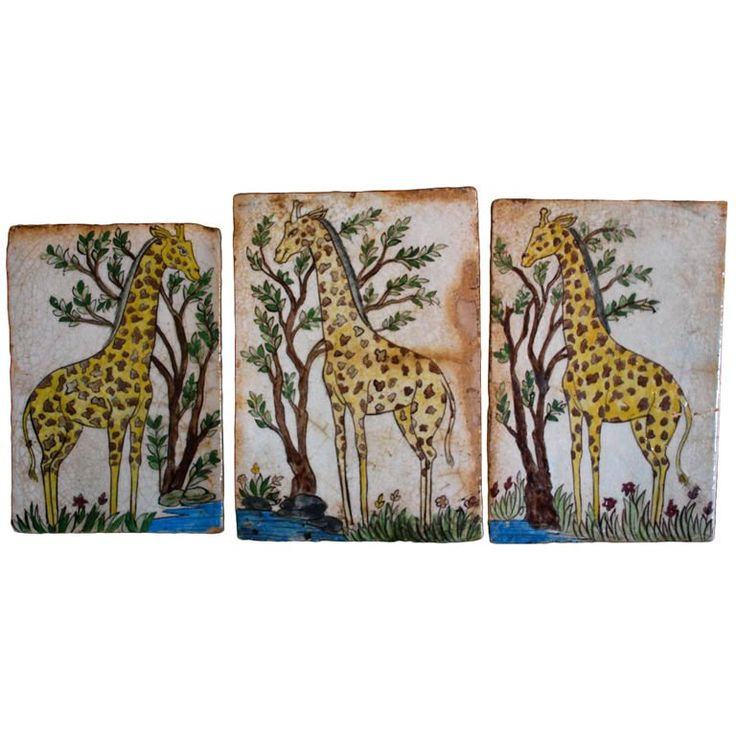 Outstanding Group of Large 18th Century Persian Giraffe Tiles 1