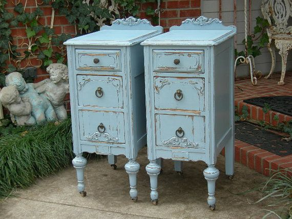 CUSTOM ORDER Pair of Shabby Chic NIGHTSTANDS Bedside Tables - Hand Painted White Aqua Blue Antique Distressed Bedroom Furniture via Etsy