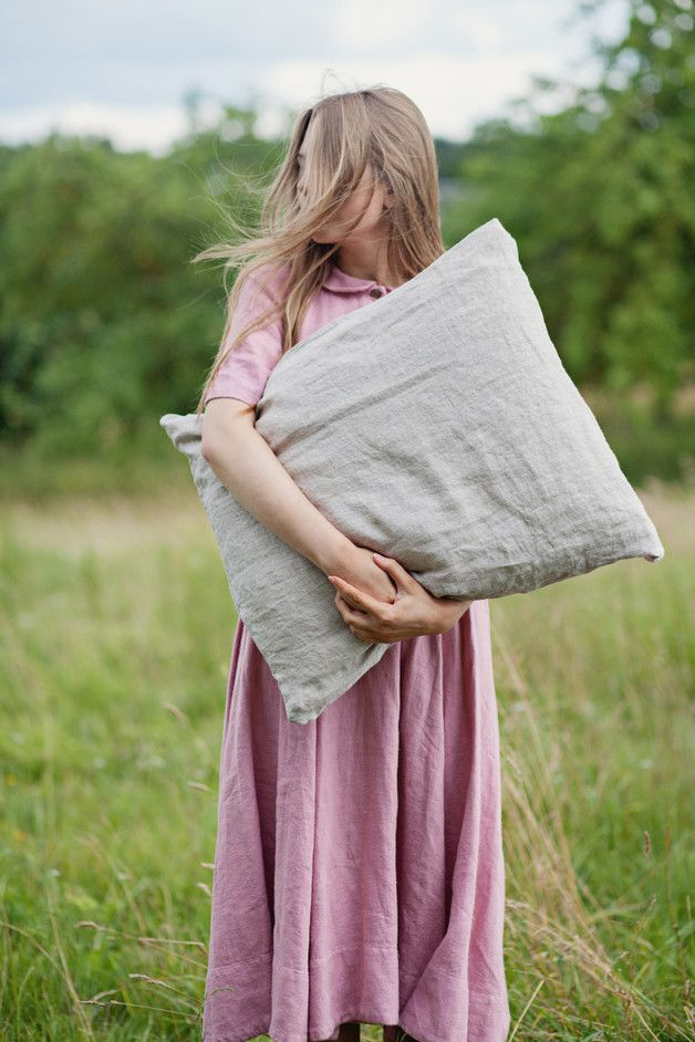 EURO SIZE LINEN PILLOW COVER.  The flax plant's fiber is naturally strong, soft…
