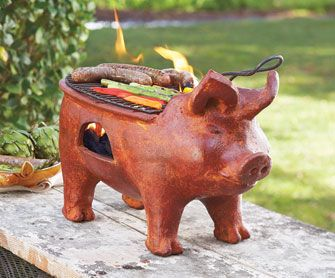 Porco Rosso Clay Grill - This little piggy is a compact grill and whimsical piece of garden art all in one.