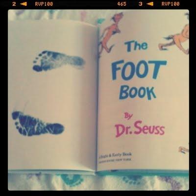 footprints in dr. suess' foot book....love the idea via mandipity
