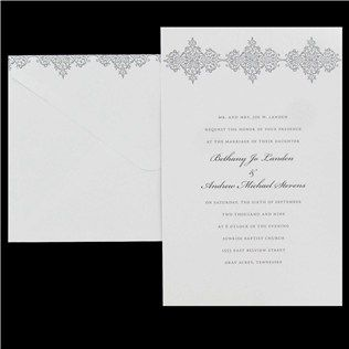 his hers white silver design wedding invitations with 3 gems - Hobby Lobby Wedding Invitations