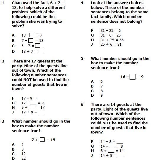 Fact Families for Addition \ Subtraction Word Problems Pretest - sample word problem worksheets