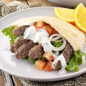 Ground Beef Gyros Made these last night and I was surprised at how they tasted just like a Gyro you get at a real Greek fest or rest.  Used a diff tzatziki sauce recipe though!!!  Also upped the spices a little, when I mixed the meat it didn't look seasoned enough for me.