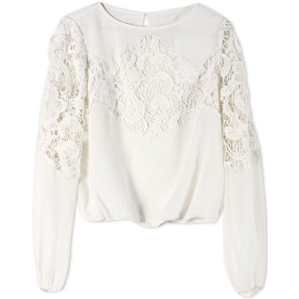 Alice+Olivia Blouse ($348) ❤ liked on Polyvore featuring tops, blouses, shirts, white, white top, white long sleeve shirt, white long sleeve blouse, lace top and shirt blouse