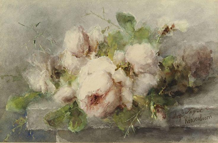 Roze rozen op stenen plint, aquarel en gouache op papier 35,1 x 53,3 cm, gesigneerd r.o. 8170911 Coll.bv