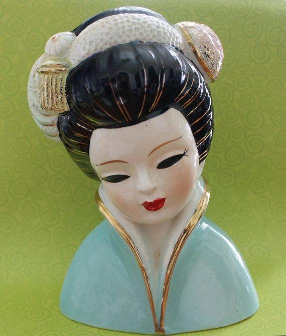 1950s Vintage Geisha Girl Head Vase by RecaptureMemories on Etsy.
