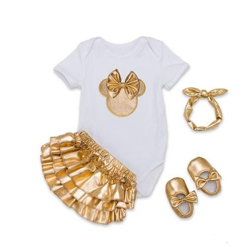 Golden Ruffle Bloomer Shorts, Shoes and Headband | Furrple
