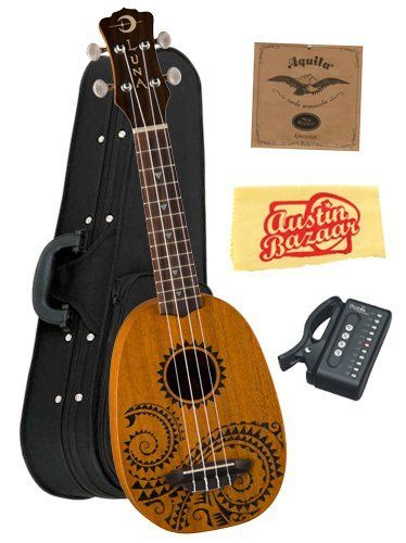 """Luna Mahogany Series Tattoo Soprano Ukulele Bundle with Aquila Strings, Hardshell Case, Tuner, and Polishing Cloth by Luna. $119.00. Bundle includes Luna Mahogany Series Tattoo Soprano Ukulele, Aquila Strings, Hardshell Case, Tuner, and Polishing Cloth.Luna's 21"""" Tattoo Soprano pineapple ukulele takes its design from traditional hawaiian body ornamentation. The designs were monochromatic, tattooed in black against brown skin. The patterns and layout were strongly g..."""