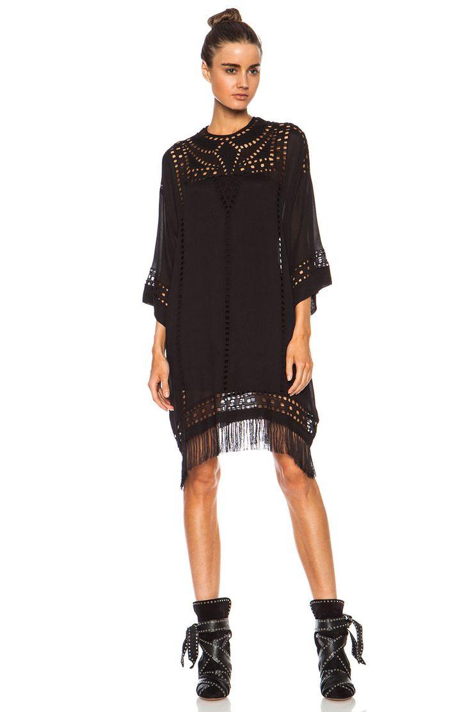 Isabel Marant Etoile Enery Embroidered Tunic Viscose Dress in Black | FWRD [1]
