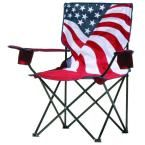 Quik Chair American Flag Pattern Folding Patio Quad Chair, Red/White/And Blue