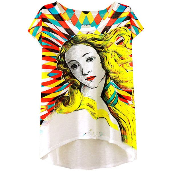Womens Short Sleeve Blond Girl Printed High Low T-shirt Yellow ($6.39) ❤ liked on Polyvore featuring tops, t-shirts, yellow, short sleeve t shirt, short sleeve tops, yellow top, yellow tee and yellow t shirt