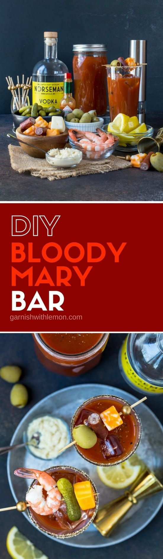 Brunch isn\'t brunch without a Bloody Mary. Set up an easy DIY Bloody Mary Bar and let your guests serve themselves! #bloodymary #bloodymarybar #vodka #brunch