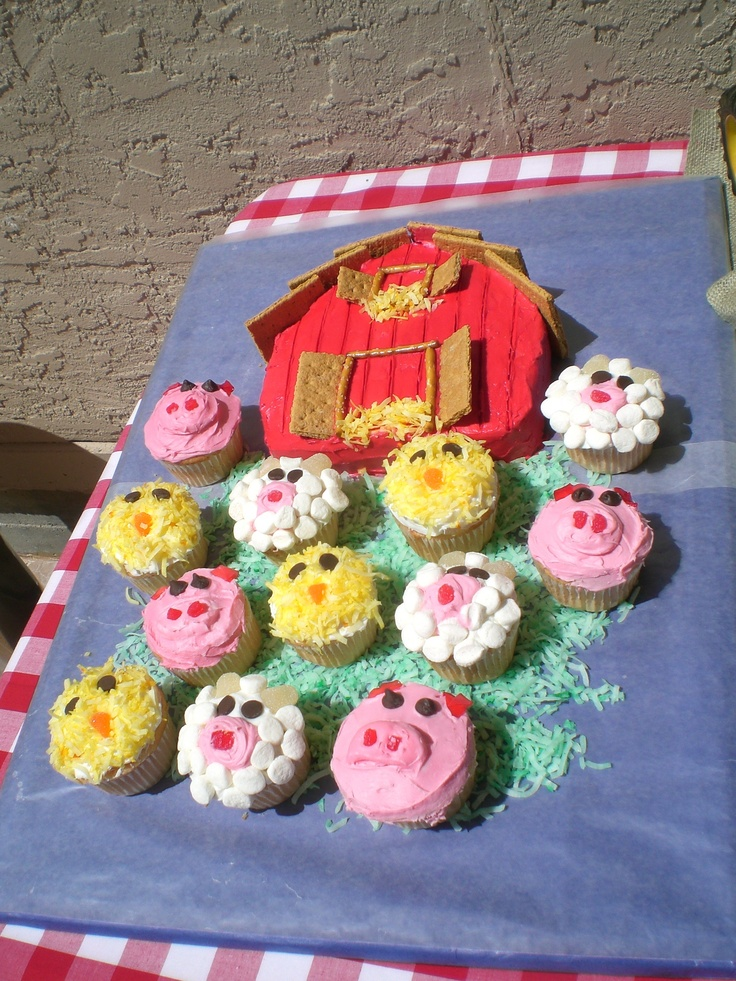 Barnyard Birthday (JoyandDelight.com): Fun for a first birthday party! Set up various game/activity stations, including craft barn, fish pond, chicken coop, hay field, petting zoo; serve haystack and cowpie cookies and animal cupcakes; decorate the table with a large John Deere toy tractor