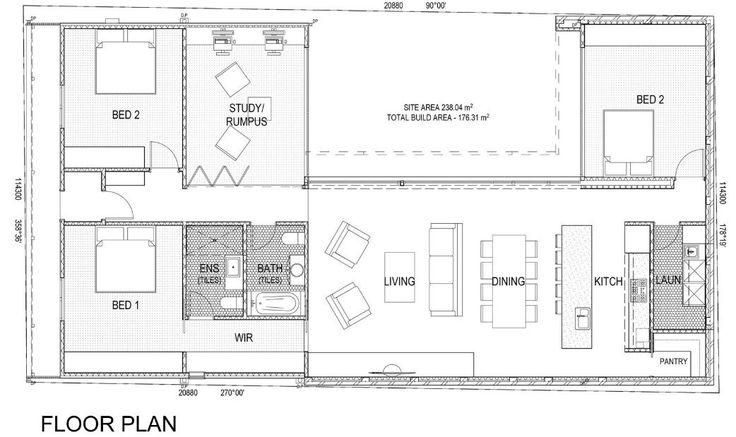 Plano de la casa de un piso tres dormitorios