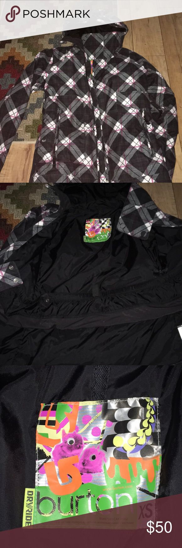Girls Burtons ski/snowboard jacket Grey black white pink, perfect condition, wore a few times snowboarding for one season, matching pink snow pants if interested Burton Jackets & Coats
