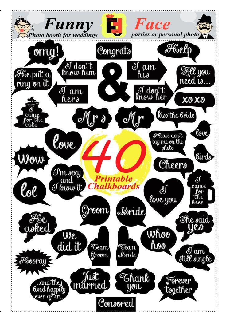 Photo Booth Props 40 DIY PDF Printable por FunnyFaceProps en Etsy