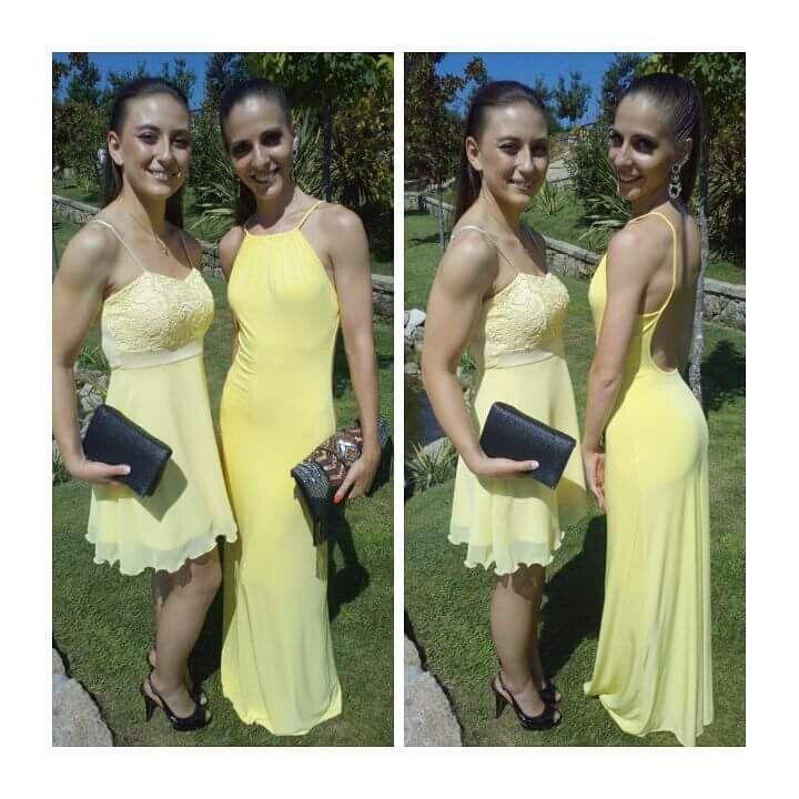 Vestidas pela Lima Limão Sílvia Ferreira e Mada Rodrigues Lindas, maravilhosas..  ambas.elegeram vestido em amarelo uma cor que transmite muita vida e alegria. Obrigado pela preferência. beijinhos