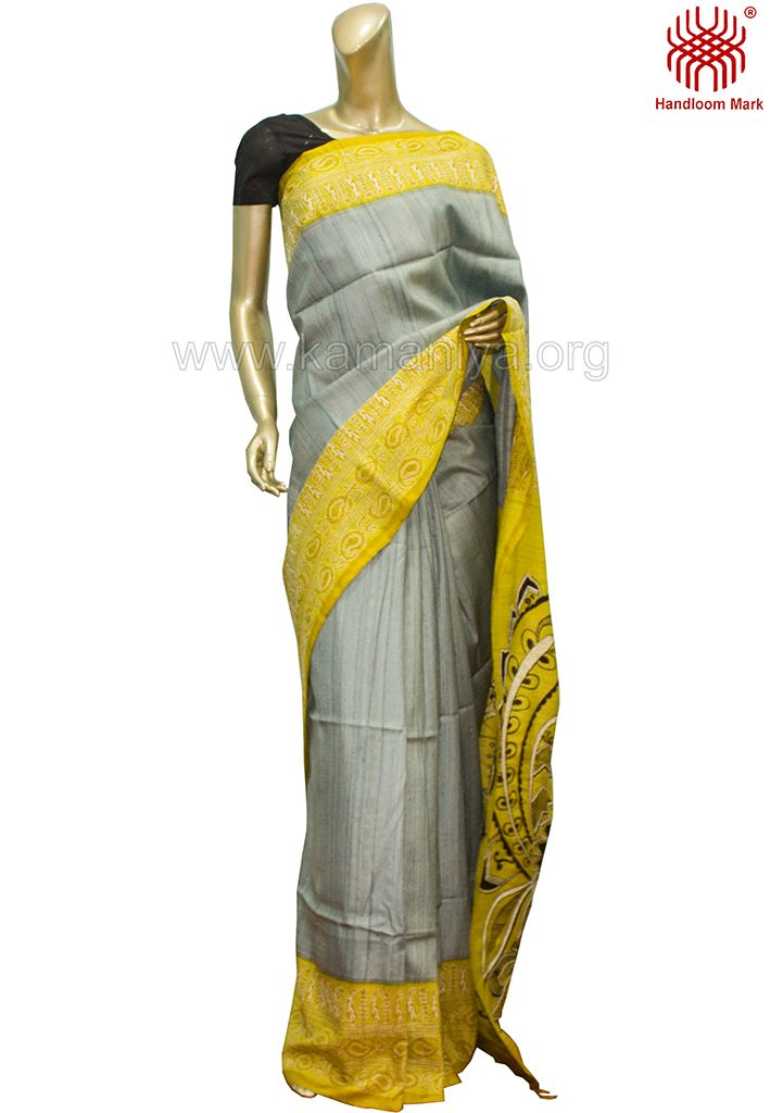 Handblock Printed & Hand Painted Tussar Saree With Kantha Work.The mannequin is wearing a blouse from our stylist's collection. Code No: S/DAK14 Visit our Website: http://kamaniya.org/sarees-1/
