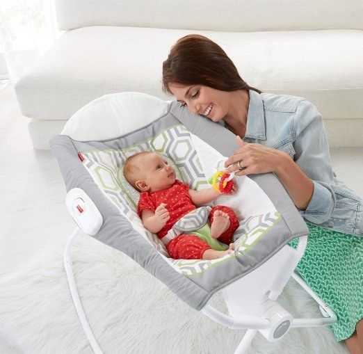 The Fisher Price Rock n' Play Sleeper helps your baby sleep at an incline and folds up for easy transportation. | 24 Of The Most Life-Saving Baby Products To Order On Amazon