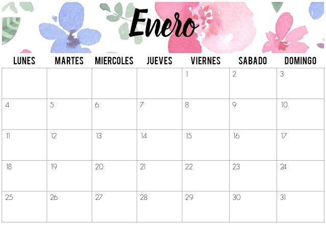 Calendarios Enero 2016 | Imprimibles