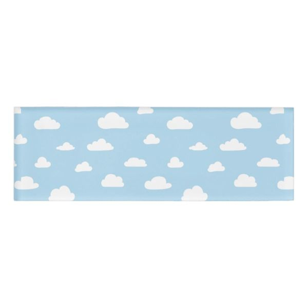 White Cartoon Clouds On Light Blue Background Patt Name Tag Custom Nametags Teacher Tutor Business Officesupplies