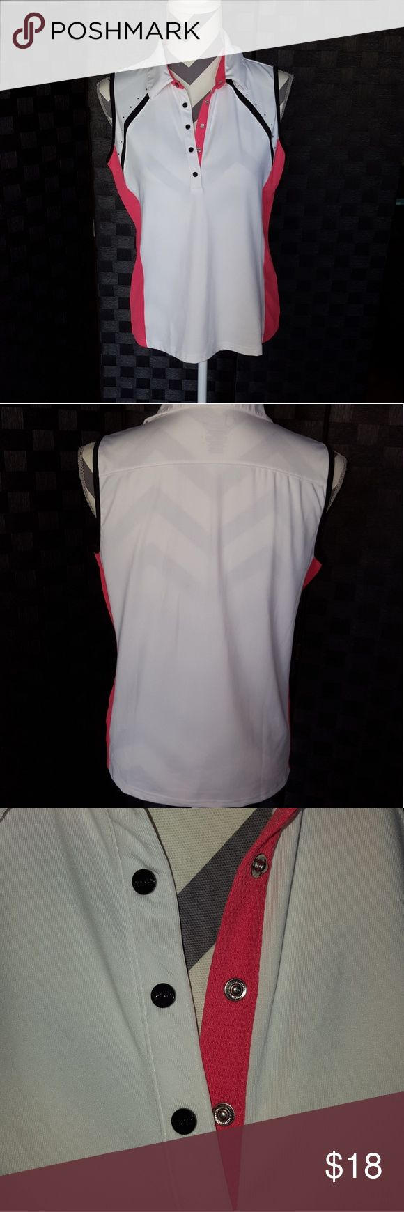 Women golf top Pink and white with Rhine stones on collar bone sleeveless top in good condition Izod Tops Tank Tops