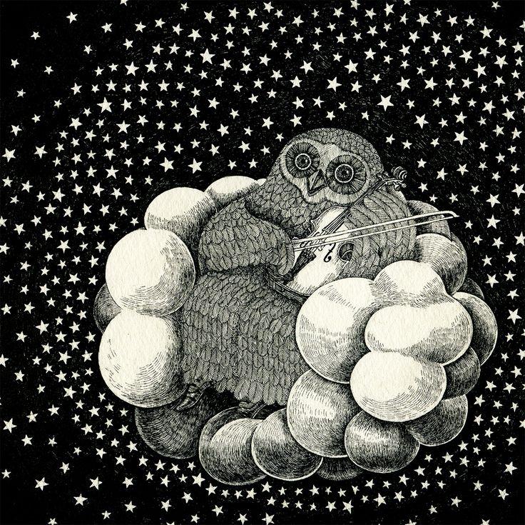 音楽の喜び #イラストレーション #イラスト #illustration #illust #モノクロ #フクロウ #owl #stars #night