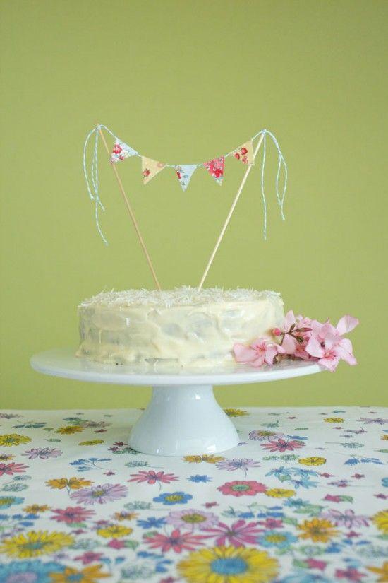 Fabric Bunting Cake Topper Tutorial With Hummingbird Cake Recipe