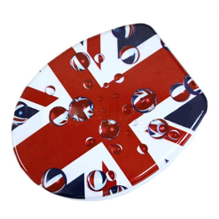 union jack toilet seat. Union Jack Resin No Slow Descent Toilet Seat  Red White Blue Pinterest