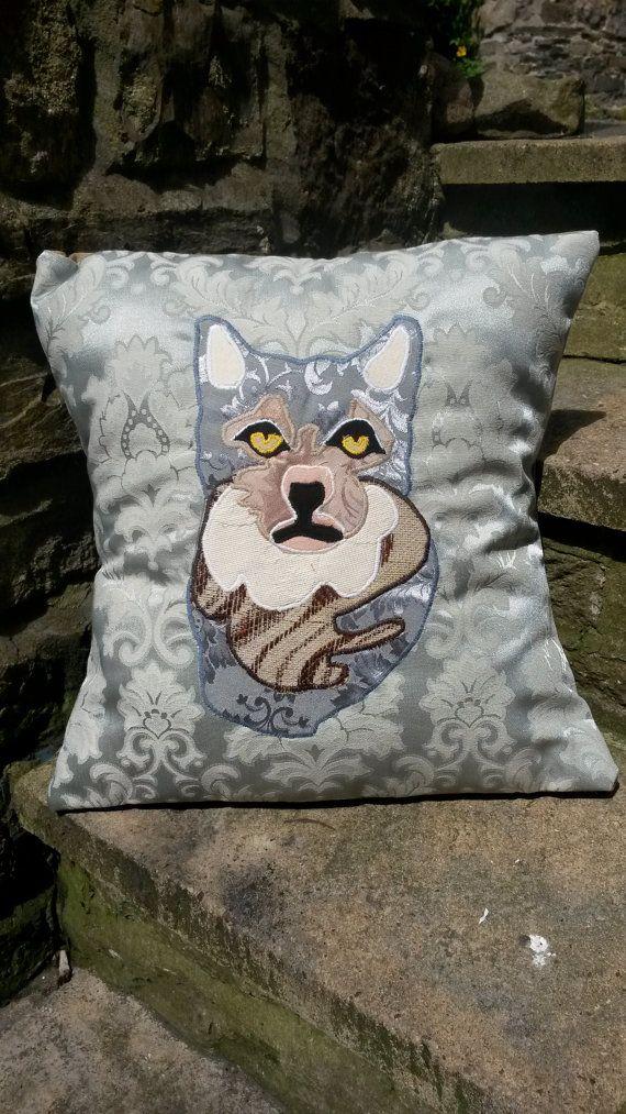 Grey Tabby Cat Cushion Pillow Kitten Animal Portrait by ByeBrytshi