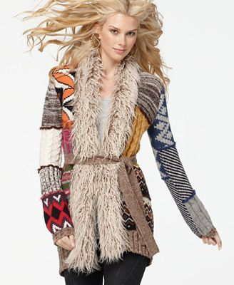 Desigual Sweater, V Neck Long Sleeve Faux Fur Mixed Patchwork Tie Cardigan