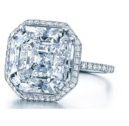 This in another ring similar to the ring Carey Mulligan wore in  Baz Luhrman's Great Gatsby.  Daisy's engagement ring was an ascher cut diamond with a diamond pavé halo.  Asscher Cut Diamond Ring - Rings - Fine Jewelry