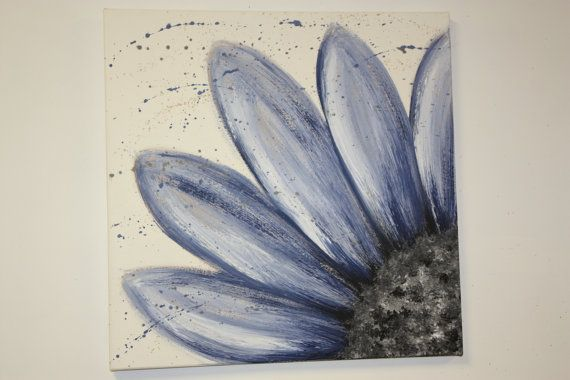 Blue flower painting using acrylics and gesso by CloverMoonDesigns, I painted this flower after seeing it on pinterest.  I want to make more ...in every color!!