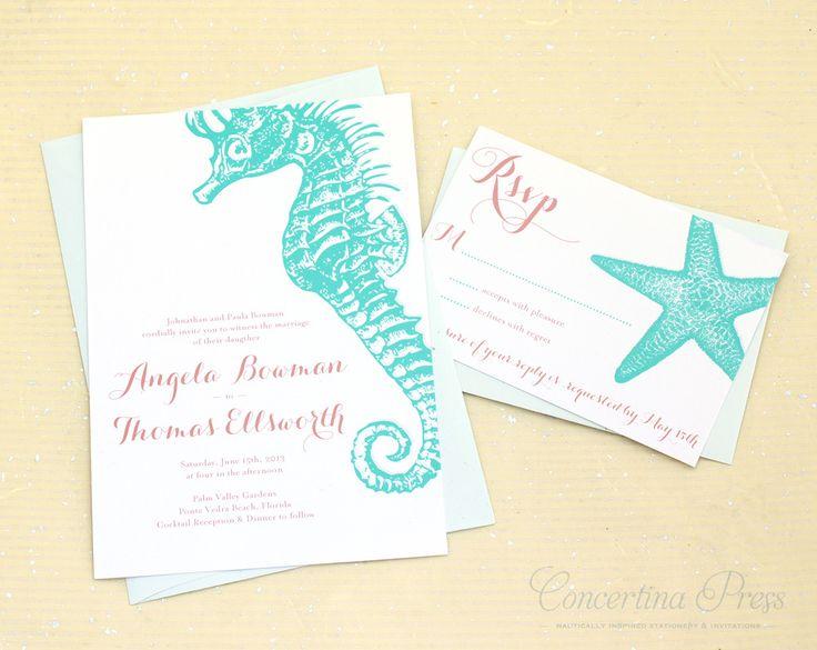 seahorse wedding invitations - Google Search