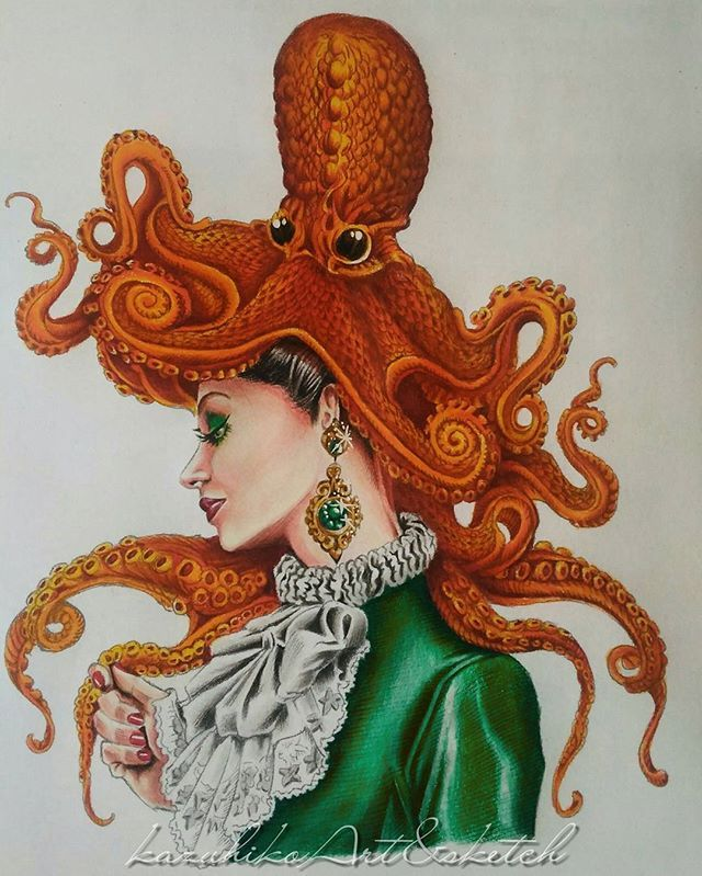 Simple colour on Miss Octo.. #bennettklein #colourmysketchbook #coloringbook…