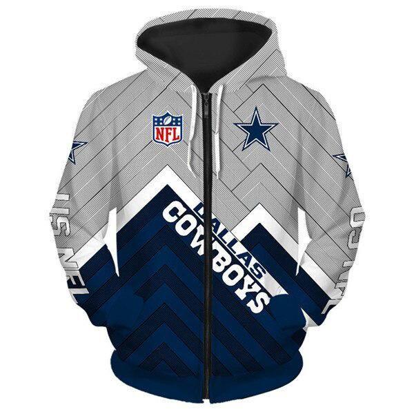 Dallas Cowboys Football Fans Hoodie Jacket Sports Sweatshirt Full-Zip Coat Gifts