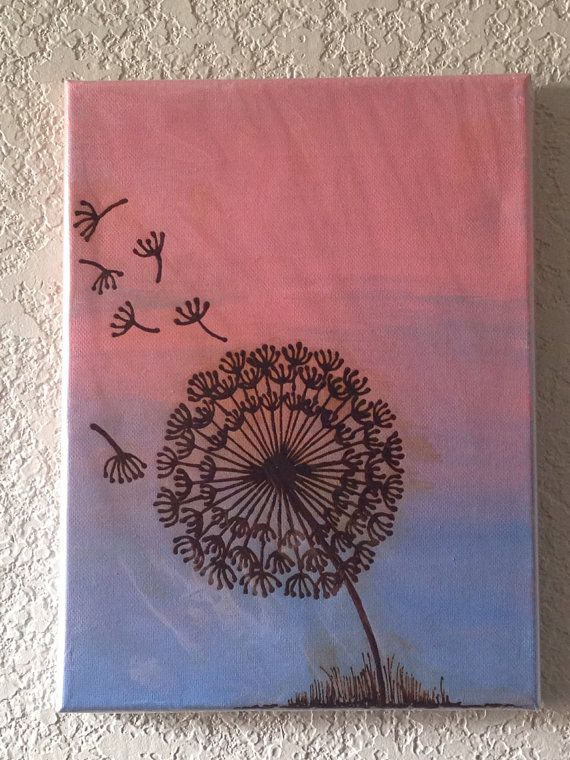 Dandelion Painting Henna Art Mixed Media with Henna by mehndiart09